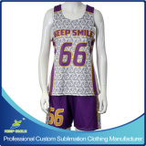 Custom Sublimation Girl′s Lacrosse Sports Clothes with Race Back Reversibles and Short