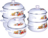 5PCS Set Enamel Casserole with Eamel Lid and Handle 773D/ dB