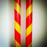 Red and Yellow Slant Stipe Caution Marking Commerical Grade 3200 Acrylic Reflective Sheeting