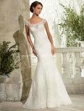 White Lace Cap Sleeve Wedding Bridal Dress