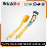 1.5 Inch Orange Rubber Coated Ratchet Tie Down with Wire Hooks