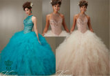 Jeweled Beading on a Ruffled Tulle Big Ball Gown Dress