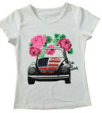 Flower Car T-Shirt for Girl in Fashion Children Clothing Sgt-055