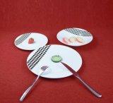 Wholesale Elegant Porcelain White Black Checker Decaled Dinner Set