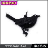 Vintage Jet Black Living Animals Black Birds Charm Necklace#17399