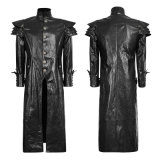 Y-630punk Spring Black Designer Leather Men Jacket Long Coat