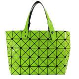 Fashion Magic Cube Green PU Tote Bag for Women Cosmetics