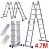 New 4.7m Folding 4 X 4 Aluminium Multi Purpose Ladder Multi Function