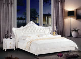 Fashionable Bedroom/Home Furniture Elegant White Leather Prince Bed (23#)