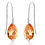 Fashion Gold imitation Jewelry Brown Zircon Hook Droop Earring