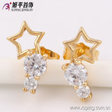 Fashion Cool Gold Plated Women Five-Pointed Star Zircon Jewelry Studs Earring - 90307