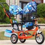 Baby Passenger Tricycles Frame Kids Tricycle with Canopy Fow Twins
