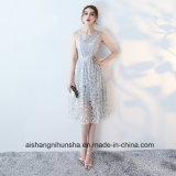 Tea Length Sexy High-Neck Wedding Gown Lace Formal Prom Dress