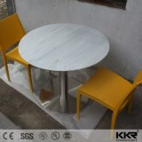 Kkr Solid Surface Stone Restaurant Furniture Food Court Dining Table Set (T170823)