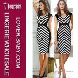 Fashion Striped MIDI Medium Length Sexy Lady Evening Dress (L36026-2)