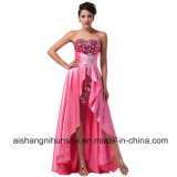 Short Front Long Back Stretch Satin Sequins Sexy Evening Dresses