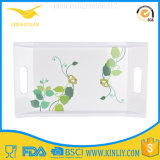"New Design Print 16"" Square Handle Custom Melamine Tray"
