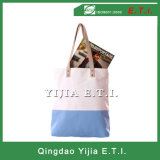 Cotton Canvas Tote Bag with Leather Handles