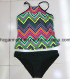 Sexy Black Printing Two-Pieces Swimwear for Woman/Lady, Beachwear