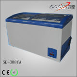 Luxury Curved Frame Glass Door Chest Freezer with Digital Controller