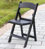 Black Padded Resin Folding Chair for Outdoor Weddings