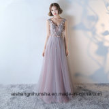 Long V-Neck Shoulder Straps Sleeveless Lace Tulle Prom Dresses