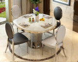 Stainless Steel Round Big Rome Columns Base White Marble Dining Table