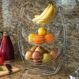 Boat Shape Metal Fruit Basket with 3 Tiers