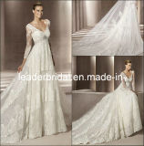 A-Line V-Neck Sheer Long Sleeves Bridal Wedding Gown E139122