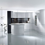 Bck European Style Simple White Arc Gloss MDF Paint Kitchen Cabinet