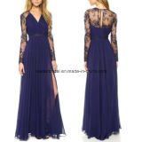 Side Split Fashion Dress Sheer Long Sleeve Prom Party Dresses Z811