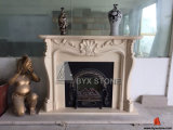 Galala Marble Fireplace with Carved for Home Decoration
