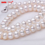 8-9mm Wholesale Button Round Natural Fresh Water Pearl Necklace (E130007)