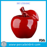 Large Red Ceramic Apple Sculpture with Leaf