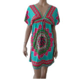 Ladies′ Placement Printed DTY Beach Dress