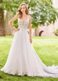 Spaghetti Straps Bridal Formal Gowns Lace Organza Beach Traveling Wedding Dress H5212