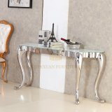 Factory Supply Home Furniture White Glass Stainless Steel Console Table