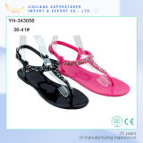 Black/Roseo Ladies Clip Toe PVC Sandals with Shiny Rhinstone