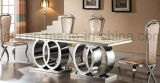 Dining Room Furniture Stainless Steel Marble Dining Table (A6688-1#)