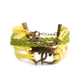 Braided Yellow Green Leather Bracelets with Locking Alloy Lobster Clasp
