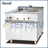 Gh785 Gas Fryer with Cabinet with 2 Tank 2 Basket of Catering Equipment