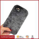 Handmade Soft Rabbit Fur Phone Case with Butterfly Crystal Rhinestone for iPhone 7