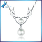925 Sterling Silver Angel′s Wings Feather Necklace Women Pearl Heart Pendant Necklaces