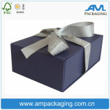 Custom with Ribbon Blue Wrapping Paper Packaging Rigid Magnetic Collapsible Gift Boxes