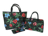 Flower Pattern Coated Polyester Fashion Women′s Tote Hand Bags