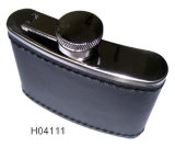 4oz Stainless Steel Hip Flask with Leather (H04111)