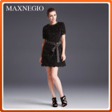 Short Sleeve Black Casual Dress Women Clothing (3-6665)