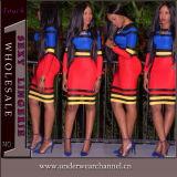 Sexy Women Bandage Accent Stripe Party MIDI Clubwear Dress (TP4209)