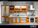 2015 New Welbom Oak Wooden Orange Modern Kitchen Cabinet