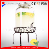 7.6L Glass Beverage Dispenser with Faucet and Metal Stand
